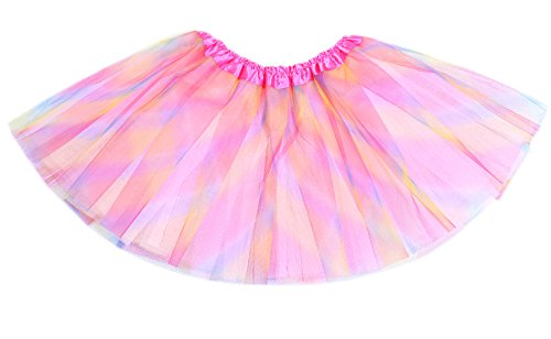 Anleolife 12 inch Rainbow Tutu Skirt Baby Girls Ballet Tutu Halloween Birthday Tutus Girls Princess Dance Tutu Dress (red blue (Halloween Girl)