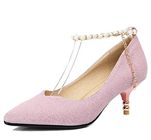 Easemax Womens Elegant Glitter Ankle Buckle Strap Beaded Chains Mid Kitten Heel Pumps Shoes Pink rm9A9yDj18