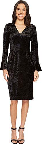 London Times Women's V-Neck Midi Sheath w/Bell Sleeve Black 10