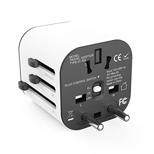 Price comparison product image Travel adapter Worldwide All in One Universal Travel Adaptor Wall AC Power Plug Adapter Wall Charger with Dual USB Charging Ports for USA EU UK AUS(White)