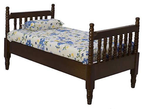 Inusitus Wooden Dollhouse Queen Bed | with Mattress & Pillow | Dolls House Accessories & Toys | 1/12 Scale (Dark-Brown) ()