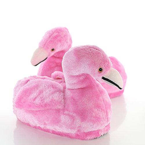 Sleeper'z Rutschfeste Plüsch-Hausschuhe Flamingo