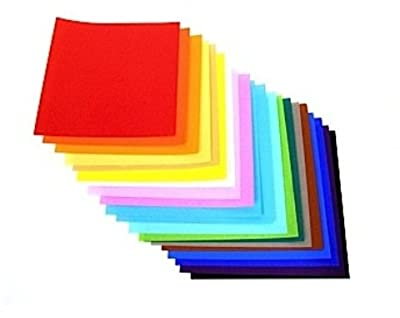 "Yasutomo 4253 Fold Ems Light-Weight Origami Paper, Square, 9-3/4"" x 9-3/4"" Size, Assorted Solid Color, 0.5"" Height, 9.7"" Width, 9.8"" Length (Pack of 100)"