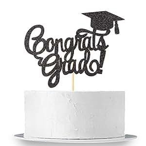 Black Glitter Congrats Grad Cake Topper - Class of 2018 2019 Graduate Party Decorations Supplies - High School Graduation, College Graduate Cake Topper