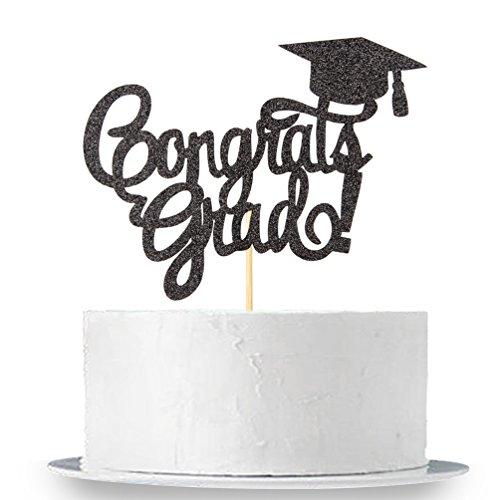 INNORU Black Glitter Congrats Grad Cake Topper - Class of 2019 Graduate Party Decorations Supplies - High School Graduation, College Graduate Cake Topper ()