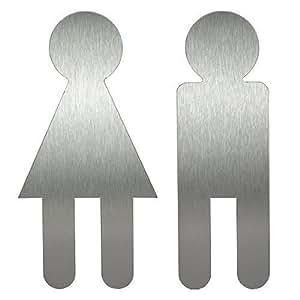 Restroom Sign I Stainless Steel Symbol I Adam Eve I Set Of 2 I H 120 Mm I