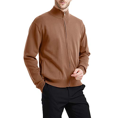 - Kallspin Men's Relaxed Fit Solid Full Zip Cardigan Sweaters (Coffee, M)