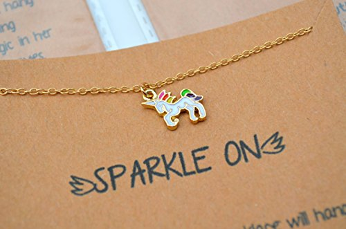 8 pack Unicorn Party Favors Necklace Set with Inspirational Message for Birthday or Christmas Stocking -