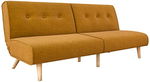 Novogratz Palm Springs Convertible Sofa Sleeper in Rich Linen, Sturdy Wooden Legs and Tufted Des ...