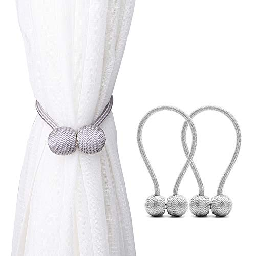 Window Tie Backs - DEZENE Curtain Tiebacks with Magnetic,The Most Convenient Drape Tie Backs,2 Pack Decorative Rope Holdback Holder for Small, Thin or Sheer Window Drapries,12 Inch Long,Silver Grey
