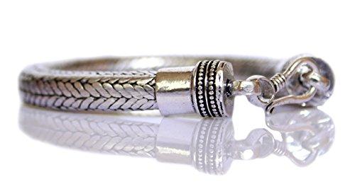 TIBETAN SILVER SNAKE CHAIN BRACELET FOR MEN UNISEX HANDMADE BRACELET (8'' LENGTH ) 9MM THICK 8' Snake Chain Bracelet