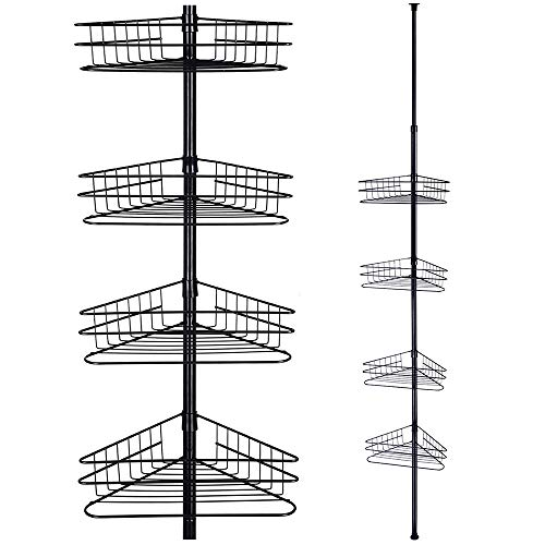 Yescom 4 Tier Metal Bathroom Telescopic Corner Shower Shelf Caddy Pole Wall Rack Storage Organizer Soap Holder Black