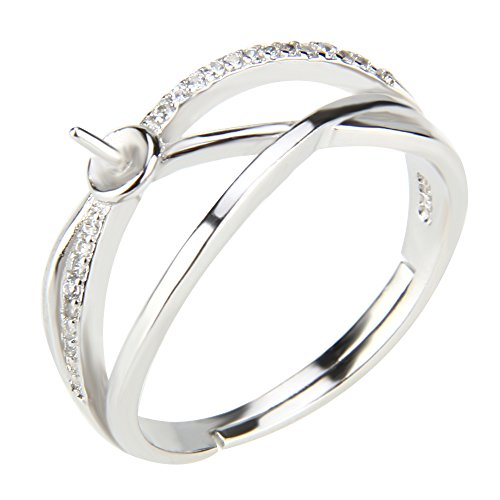 2pcs DIY Adjustable Pearl Ring Accessories/Fitting/Mounting 925 Sterling Silver