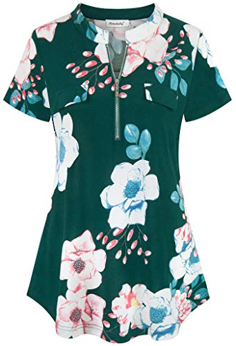 (Ninedaily Women's Summer Tops Short Sleeve Casual Blouse Zip Floral Tunic Shirts,Green Size S)