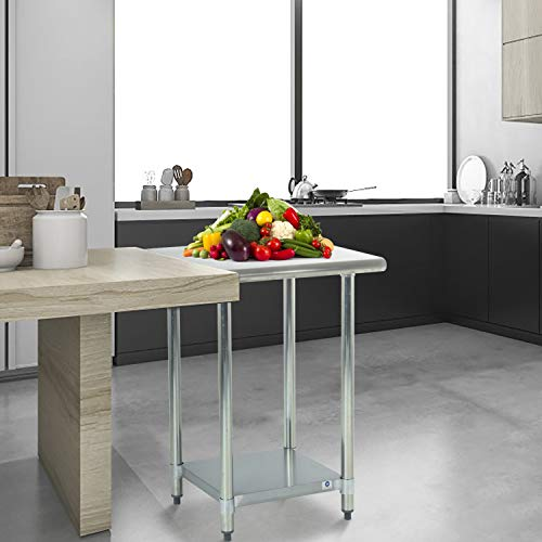 FDW Heavy Duty Commercial Stainless Steel 24x24 Inch Kitchen Work Table, 24