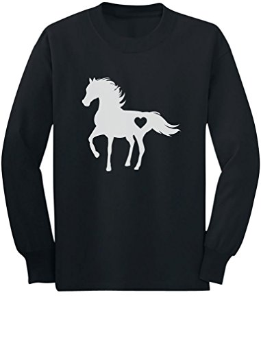 Tstars - Gift for Horse Lover Love Horses Toddler/Kids Long Sleeve T-Shirt 5/6 Black ()
