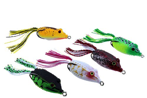 C4 Topwater Frog 5pc. Lure Set for Bass, Fishing, Topwater Similar to Live Target Frog - by Woodpecker Baits - Crankbait, Popper, Spinnerbait, Molded Eyes