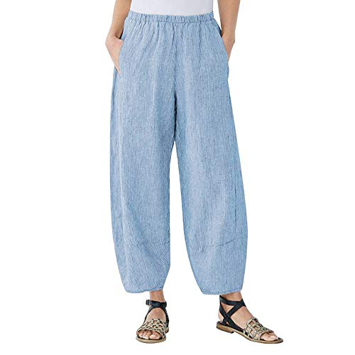 Adeliber Women's Casual Cotton Linen Striped Pants GoodLock Ankle-Length Wide Leg Pants Trousers Blue