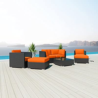 NEW Uduka Monet 7 Pcs Outdoor Orange Sectional Patio Furniture Espresso Brown Wicker Sofa Set All Weather Couch
