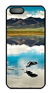 iPhone 5 5S Case Mountain And Lake 02 PC Custom iPhone 5 5S Case Cover Black