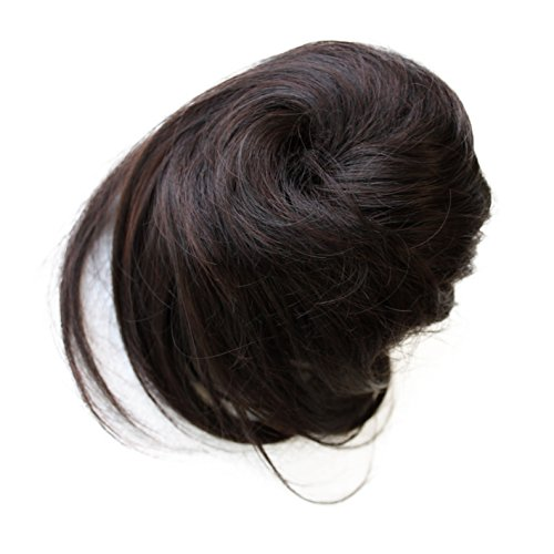 PRETTYSHOP Scrunchy Scrunchie Bun Up Do Hairpiece Hair Ribbon Ponytail Extensions Wavy Curly or Messy Color Variation (dark brown mix 1B/33 DC5)