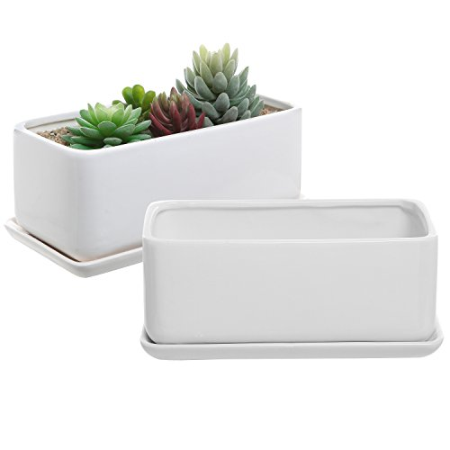 (10 inch White Ceramic Rectangular Succulent Planter Pots with Removable Drip Tray, Set of 2)