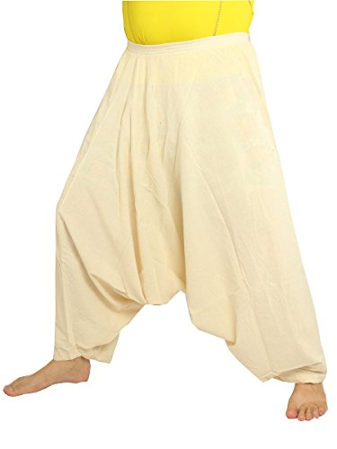 jing shop Low Cut Balloon Harem Pants One Size Cotton Unisex -