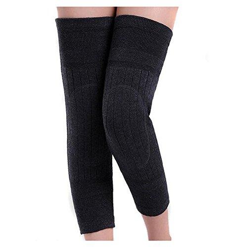 Unisex Breathable Cashmere Woolen Blend Winter Warmer Knee Brace Pads Thicken Lengthen Thermal Knit Knee Warmers Sleeve KneePads Legging Stockings for Women Men Outdoor Sports