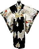 LV International Trade,Adult Satin Kimono Robe - Black Multi-Colored, One Size