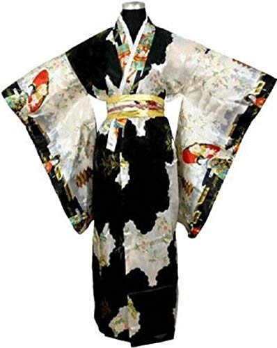 LV International Trade,Adult Satin Kimono Robe - Black Multi-Colored, One Size ()