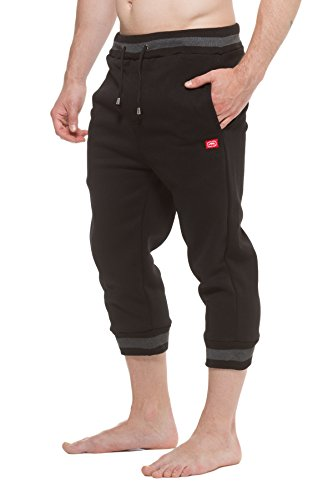 Mens ECKO UNLTD Fleece Capri Jogger Pants Black L