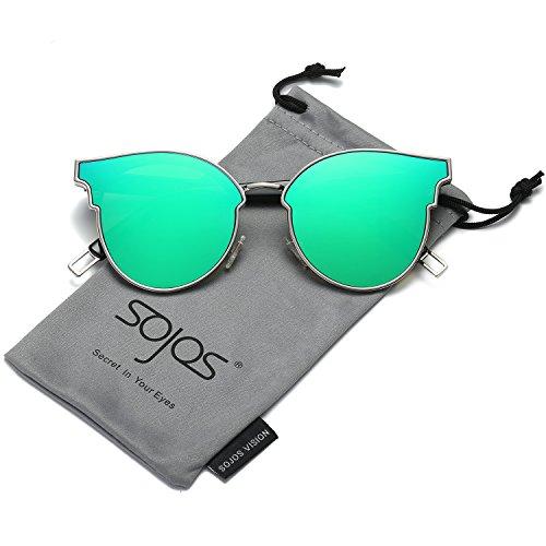 Gafas Marco C3 Plano Espejo Lentes De Gato Grueso Ojo Moderna Plateado Sol SJ1055 Retra Verde Marco SOJOS Mujer Lente De Para SJ1055S Espejo TxdaPWqw4