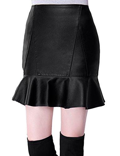 Helan Donna Cuoio sottile Breve PU Falbala con gonne laterali della chiusura lampo
