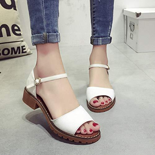 Gruesos Las Toes Tobillo Elegantes Peep Zapatos Zapatos Mujeres Tacones Zapatos Gruesos Tacones Verano de de de se ora Bombas Low de Heels Sandalias Zapatos de del Correa BCB5q