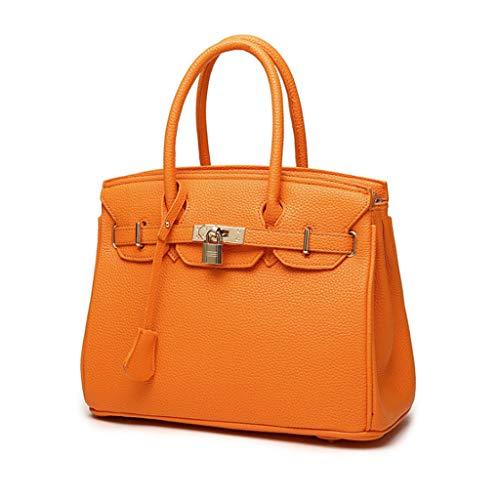 Femmes Sac à Fermeture éclair Lychee Platinum Sac Diagonale Sac à bandoulière Portable Sac à Main (30 * 24 * 15cm) (Couleur : Orange)
