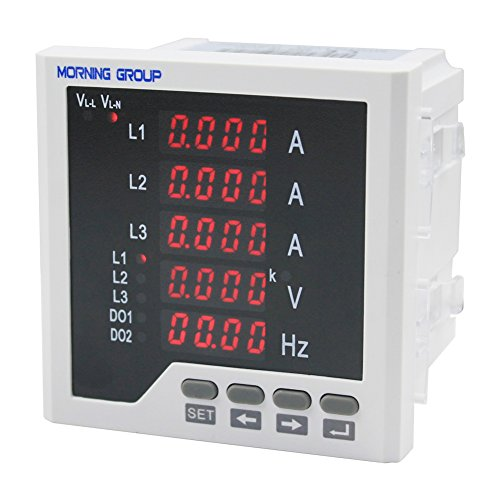 Morning Group 3 Phase LED Digital Display Multifunction Current Voltage Frequency Meter(Three Phase (Panel Size:3.78 3.78in)) by Morning Group