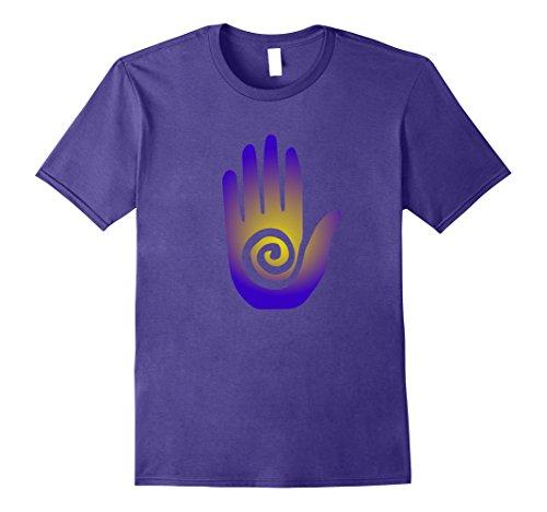 Mens Southwestern Tribal Hopi Hand Esoteric Symbol Boho T Shirt Medium Purple