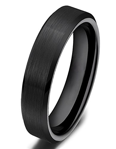 Somen Tungsten 4mm Ceramic Black Brushed Comfort Fit Wedding Ring, (4mm Comfort Fit Ring Band)