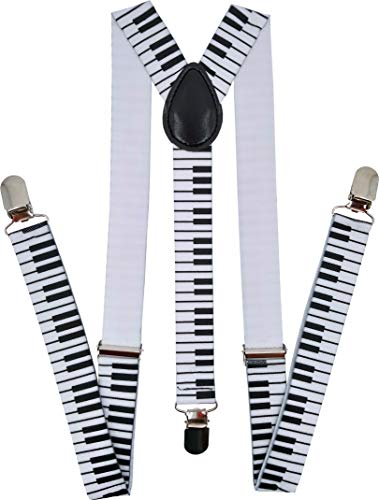 Navisima Adjustable Elastic Y Back Style Suspenders for Men and Women With Strong Metal Clips 12 Pack, Piano Keys -