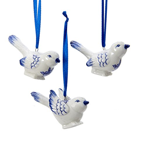 Kurt Adler Porcelain Delft Blue Bird Ornaments