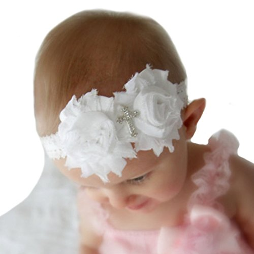 Miugle Baby Baptism Headbands Baby Girls Lace Headbands -