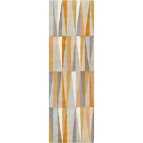 Surya OAS1099-268 Hand Tufted Geometric Runner, 2-Feet 6-Inch by 8-Feet, Burnt Orange/Light Gray/Beige/Slate/Salmon/Tan/Mocha/Taupe - 8' Runner Salmon