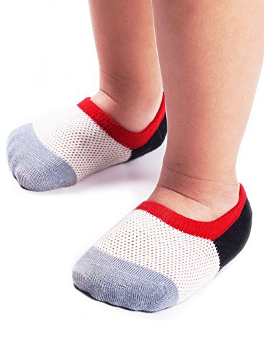 (BabaMate 6 Pairs Baby Toddler Little Kids No Show Socks - Thin Mesh Cotton Athletic Socks for Boys Girls)
