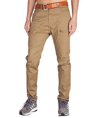 ITALY MORN Men's Chino Khaki Flat Front Casual Pants 2XL Dark Khaki