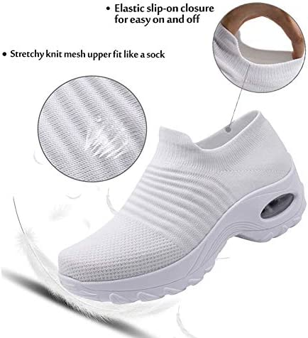 Ablanczoom Womens Walking Shoes Wedges Platform Sneakers Comfortable Breathe Mesh Slip On Air Cushion Running Tennis Shoes for Women 4