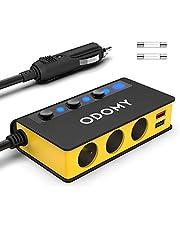 Cigarette Lighter Adapter Quick Charge 3.0 180W 12V/24V 3-Socket Splitter 4 USB Ports Car Power Adapter for GPS, Dash Cam, Sat Nav, Phone, iPad, Tablet, etc