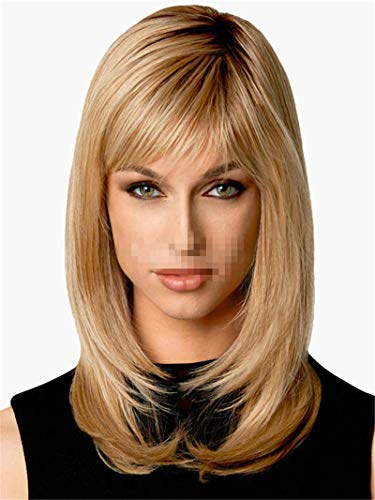 Can Dye 100% High Temperature Silk Ladies Short Straight Hair Golden Oblique Bangs -