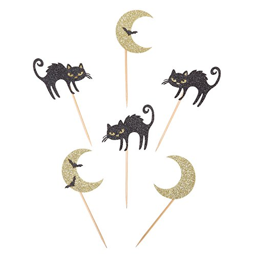 Gold and Black Glitter Halloween Cupcake Toppers Handcrafted Moon and Cat Party Decors