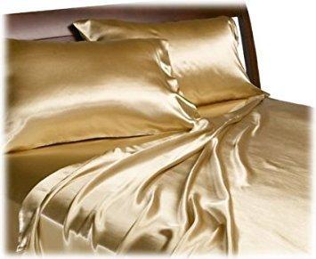 Dovedote 4 Piece Luxury Embroidery Golden Satin Sheet Set, K