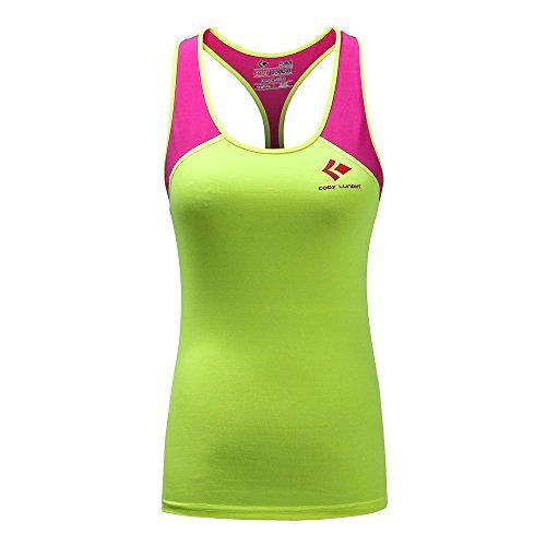 Lady slim fit pour femme de compression pour femme sans manches pour Sport Fitness Course à Pied Vert